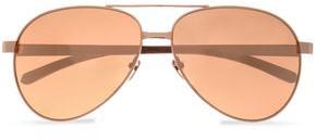 Linda Farrow Aviator-Style Rose Gold-Tone Sunglasses