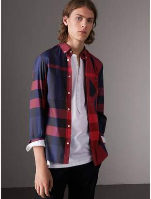 Burberry Button-down Collar Check Stretch Cotton Blend Shirt , Size: XL, Red