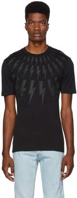 Neil Barrett Black and Grey Multi Lightning Bolt Logo T-Shirt