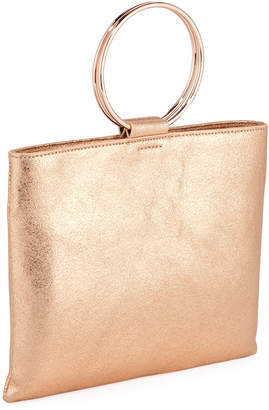 Thacker Le Pouch Metallic Leather Ring-Handle Crossbody Bag