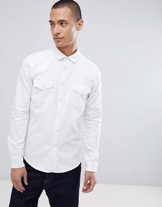 Asos DESIGN Skinny Denim Western Shirt In White