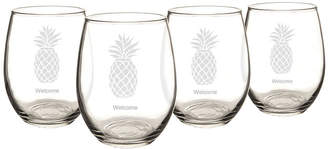 Cathy's Concepts CATHYS CONCEPTS Set of 4 Pineapple Stemless Wine Glasses