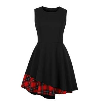 ff61daa8dc0a Ladyjiao Women's Asymmetric Skirt Red Plaid Check Patchwork Cocktail Party Dress  Retro Vintage Swing Dresses