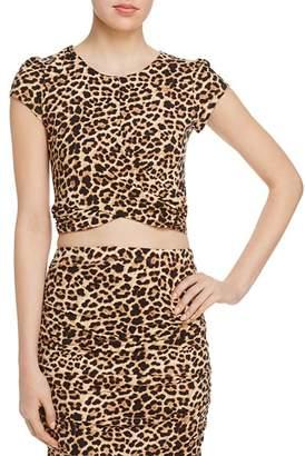Aqua Twist-Front Leopard Print Cropped Top - 100% Exclusive