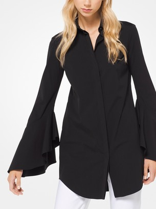 Michael Kors Stretch Cotton-Poplin Bell-Sleeve Shirt