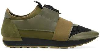 Balenciaga olive green road runner sneakers green