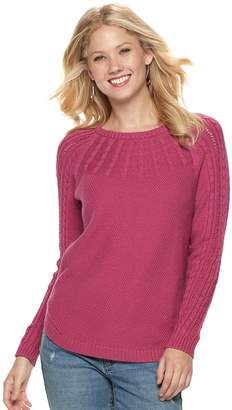 Sonoma Goods For Life Women's SONOMA Goods for Life Cable Knit Yoke Crewneck Sweater
