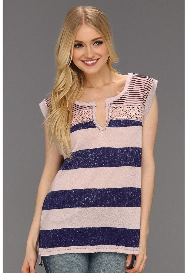 Free People Pieced Stripe Top (Dusy Mauve Combo) - Apparel