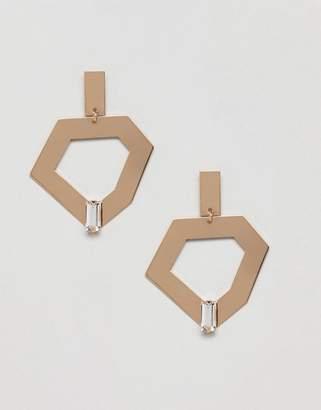 Monki Abstract Gem Drop Earrings