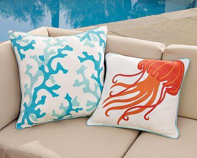 Printed Sea Life Outdoor Pillows