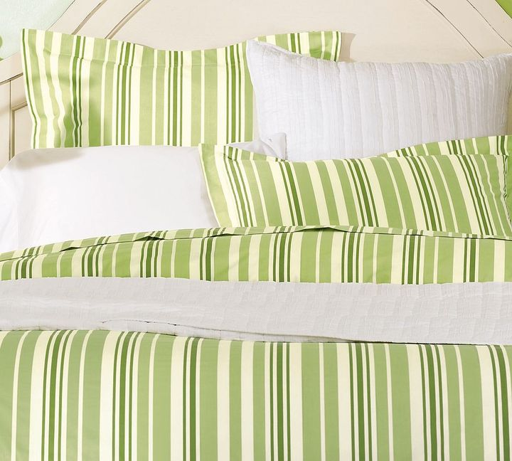 Tonal Stripe Organic Duvet Cover & Sham - Honeydew Green