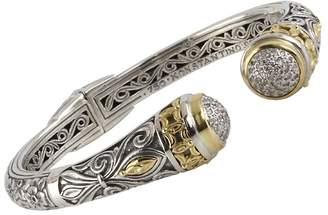 Konstantino Women's Asteri White Diamond, 18K Yellow Gold and Sterling Silver Cuff Bracelet
