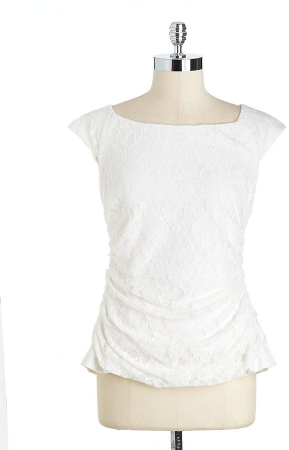 Adrianna Papell Ruched Floral Lace T-Shirt