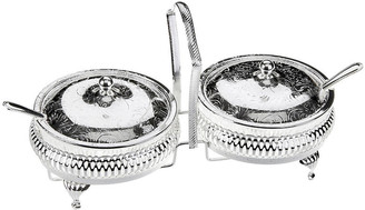 Corbell Silver Company Inc. Silver-Plated Lidded Jam Server & Spoons