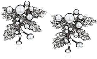 Badgley Mischka Crystal & Pearl Leaf Stud Earrings