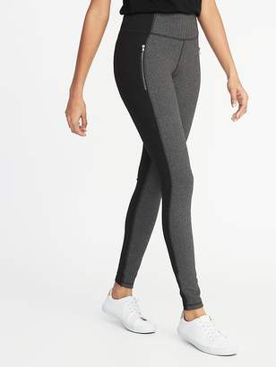 Old Navy High-Rise Herringbone/Ponte Zip-Pocket Street Leggings for Women
