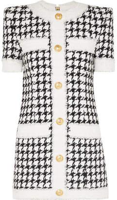Balmain Button-embellished Houndstooth Tweed Mini Dress - Black