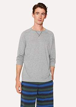 Men's Light Grey Jersey Cotton Long-Sleeve Top