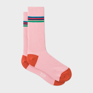Men's 'Cycle Stripe' Trim Pink Ribbed Socks $30 thestylecure.com