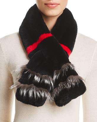 Maximilian Furs Rabbit Fur Scarf with Fox Fur Trim