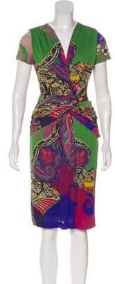 Etro Abstract Print Knee-Length Dress Green Abstract Print Knee-Length Dress