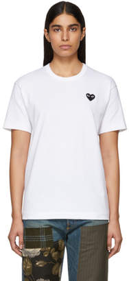 Comme des Garcons White and Black Mens Fit Heart Patch T-Shirt