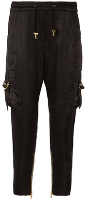 Balmain - Cropped Satin Pants - Black $1,475 thestylecure.com