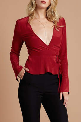 Cotton Candy Bell-Sleeve Wrap Blouse