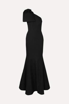 Rebecca Vallance Francesca One-shoulder Bow-detailed Cloqué Gown - Black