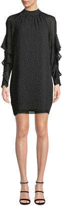 Maggy London Mock-Neck Ruffle-Sleeve Polka Dot Shift Dress