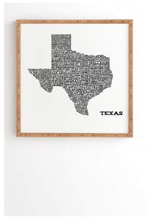 Restudio Designs Texas Map Framed Wall Art