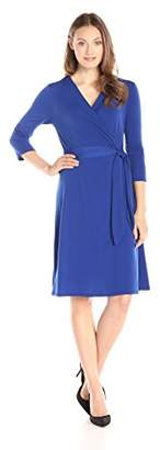 NY Collection Women's 3/4 Sleeve Solid Ity Dress with Tie at Waist