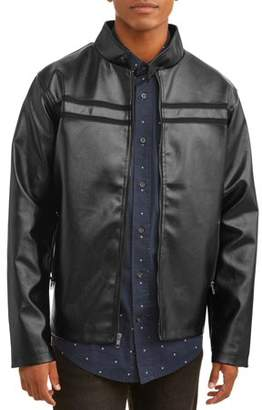 PNW USA Men's Faux Leather Full Zip Jacket, up to size 3XL