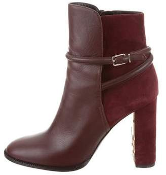 Burberry Round-Toe Leather Ankle Boots