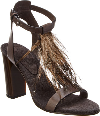 Brunello Cucinelli Fringe Leather Ankle Wrap Sandal
