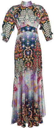 Peter Pilotto Printed Silk Evening Gown