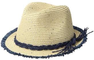 San Diego Hat Company Kids Paperbraid Fedora w/ Color Pop Fray Edge Fedora Hats