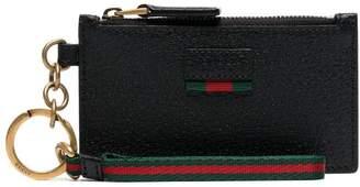 Gucci black logo embossed card holder