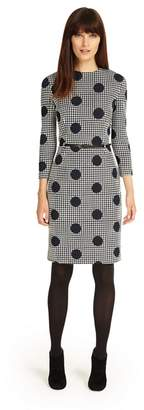 Phase Eight Navy And Ivory Spot Jacquard Dress