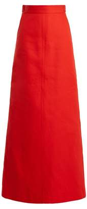 Kwaidan Editions - Lockwood A Line Cotton Maxi Skirt - Womens - Red