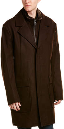Cole Haan Leather-Trim Wool-Blend Coat
