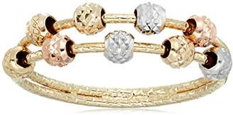 10k Tri Colored Gold Diamond Cut Double Beaded Band Ring