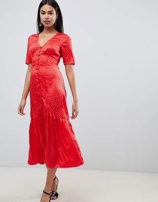 Asos DESIGN button through maxi tea dress in jacquard