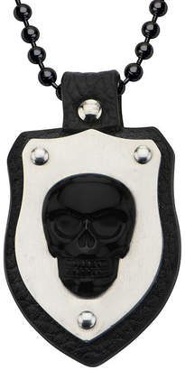 JCPenney FINE JEWELRY Inox Jewelry Mens Genuine Onyx Skull and Leather Stainless Steel Shield Pendant