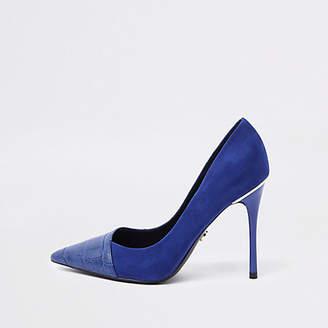 River Island Womens Bright blue croc wrap around court shoes