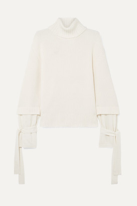 Mother of Pearl Luca Tie-detailed Ribbed Wool-blend Turtleneck Sweater - Ivory