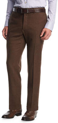 Kiton Wool-Cashmere Flat-Front Trousers, Brown