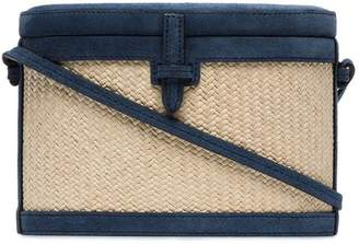 Hunting Season blue Trunk straw suede box bag