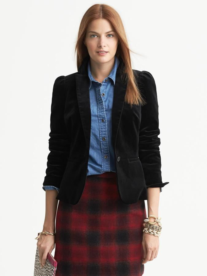 Banana Republic Black Velvet Puff-Sleeve Blazer
