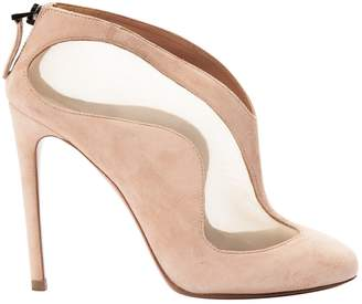 Alaia Pink Suede Ankle boots